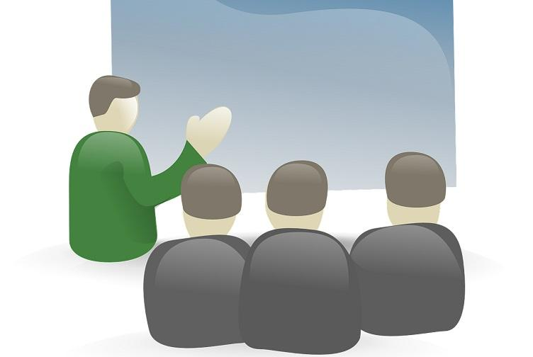 Icon of a presentation at a meeting
